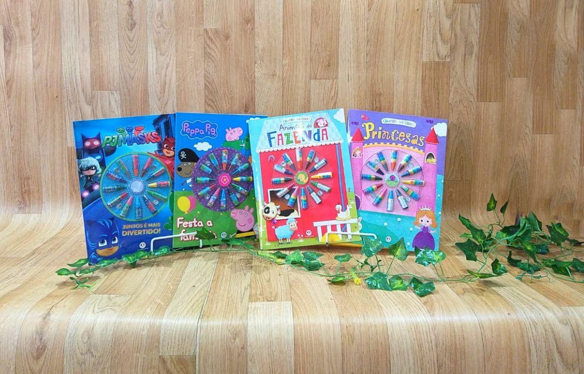 Kit Livro Infantil com Giz de Cera