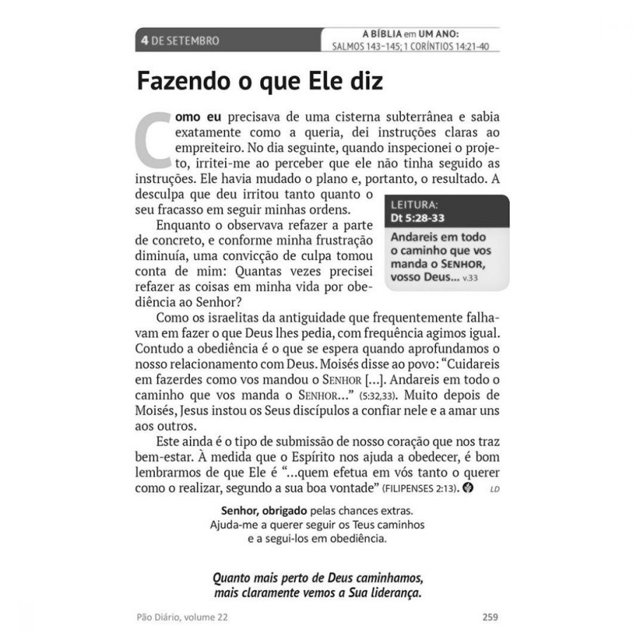 Pão Diário Vol. 24 - Ano 2021 | Alegria do senhor