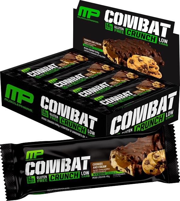 Barra de Proteína Combat Crunch Muscle Pharm Cookies And Cream 45g