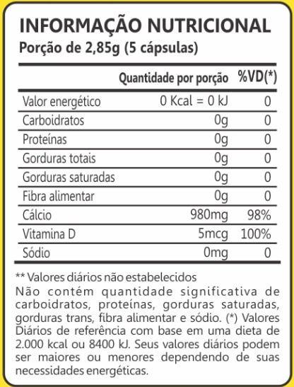 Cálcio de Ostra 500mg 60 Cápsulas Maxinutri