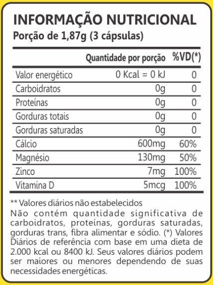 Cálcio Magnésio e Zinco 60 Cápsulas Maxinutri