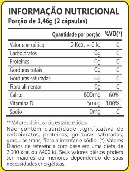 Cálcio + Vitamina D3 60 Cápsulas Maxinutri