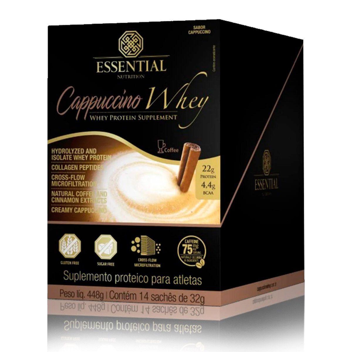 Cappuccino Whey Display com 14 Sachês de 32g Essential Nutrition