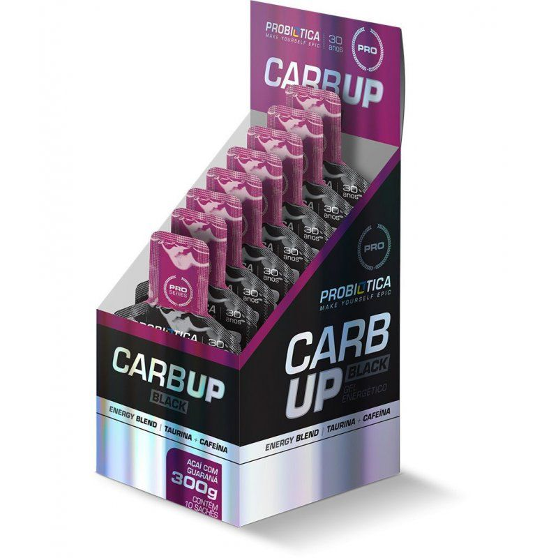 Carb Up Black Gel 10 Sachês de 30g Probiótica