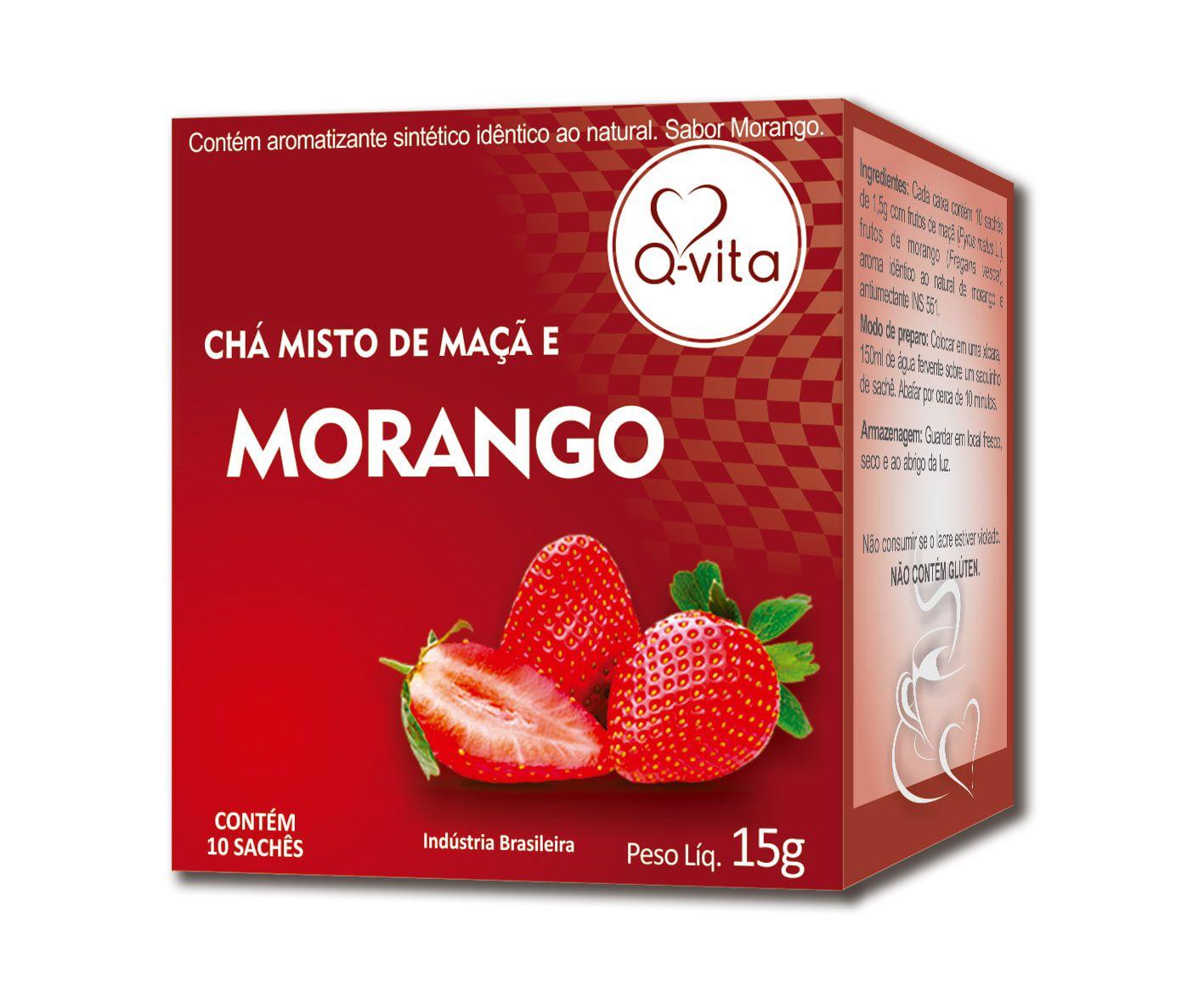 Chá de Morango 10 Sachês Q-Vita