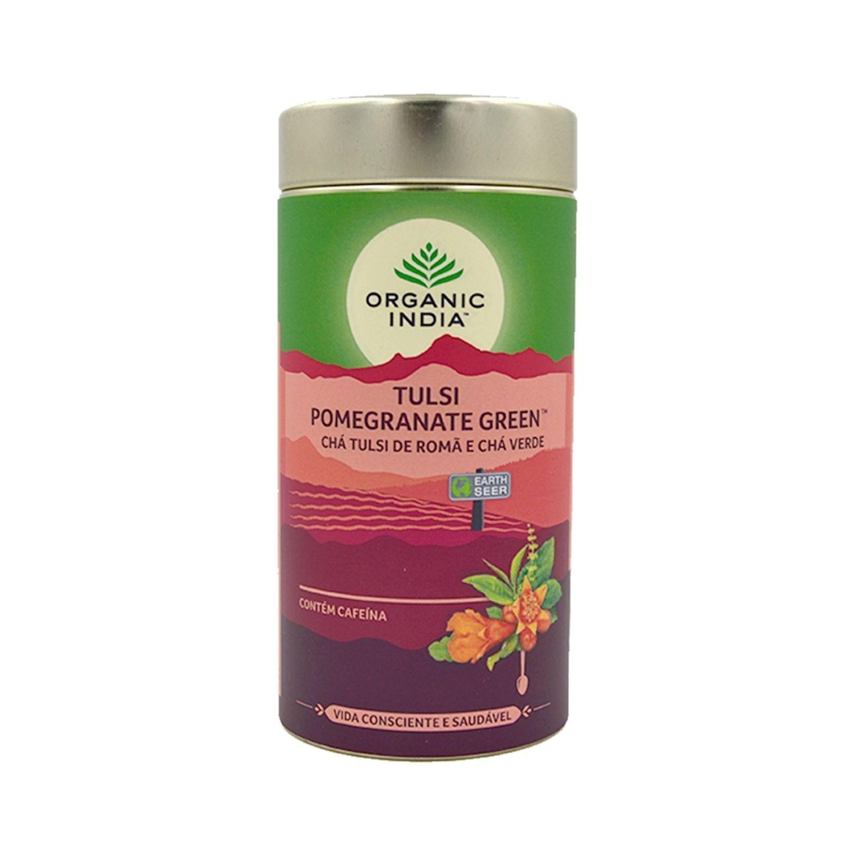 Chá Tulsi Pomegranate Chá Verde e Romã 100g Lata Organic India