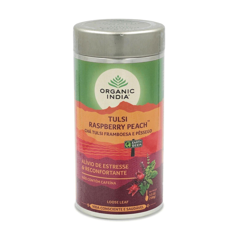 Chá Tulsi Raspberry Peach Framboesa e Pêssego 100g Lata Organic India