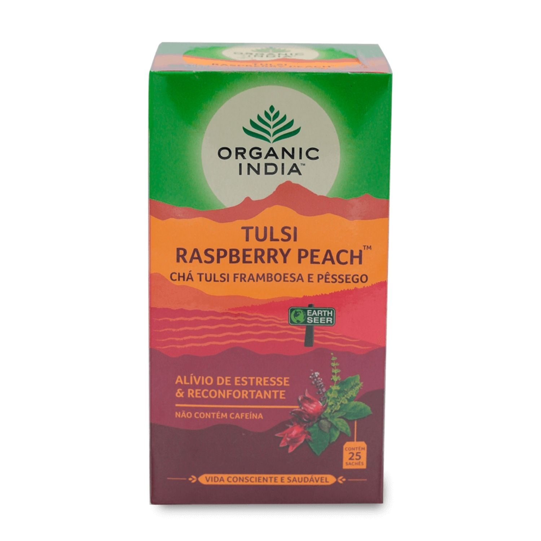 Chá Tulsi Raspberry Peach Framboesa e Pêssego 25 Sachês Organic India