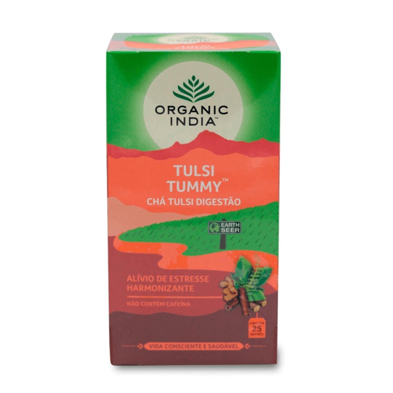 Chá Tulsi Tummy Gengibre e Canela 25 Sachês Organic India