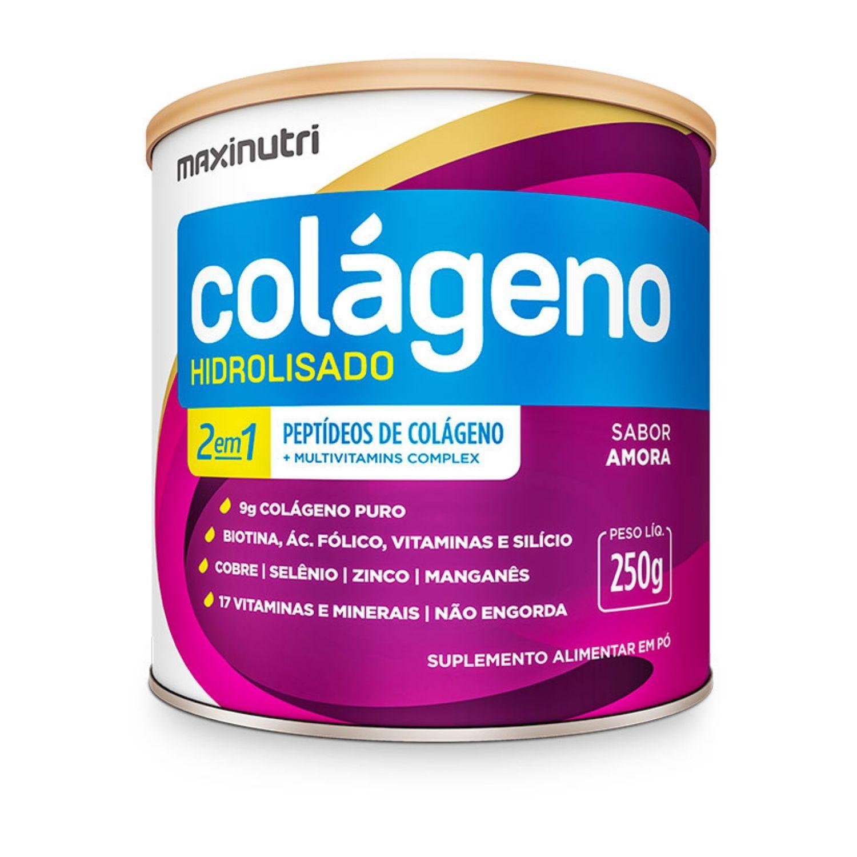 Colágeno Hidrolisado 2 em 1 250g Maxinutri Sabor Amora