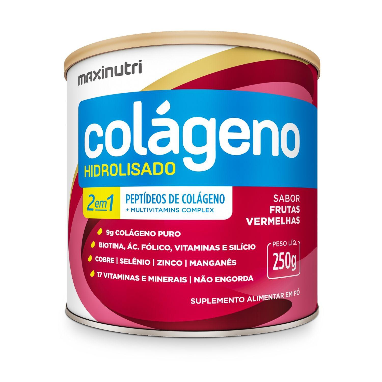 Colágeno Hidrolisado 2 em 1 250g Maxinutri Sabor Frutas Vermelhas