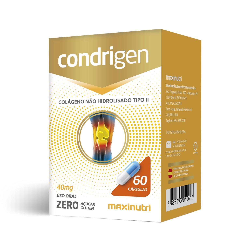 Condrigen Colágeno Tipo II 40mg 60 Cápsulas Maxinutri