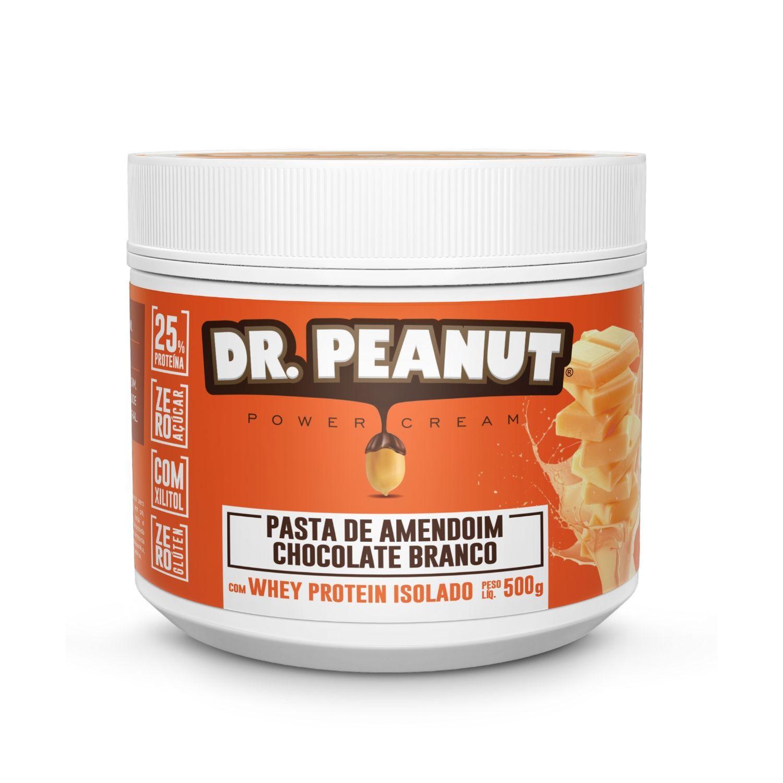 Pasta de Amendoim Dr Peanut Chocolate Branco com Whey Protein 500g Zero Açúcar