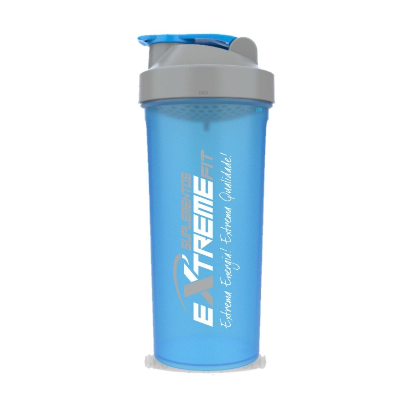 Coqueteleira Slim 600ml BPA Free ExtremeFit Azul Claro e Cinza