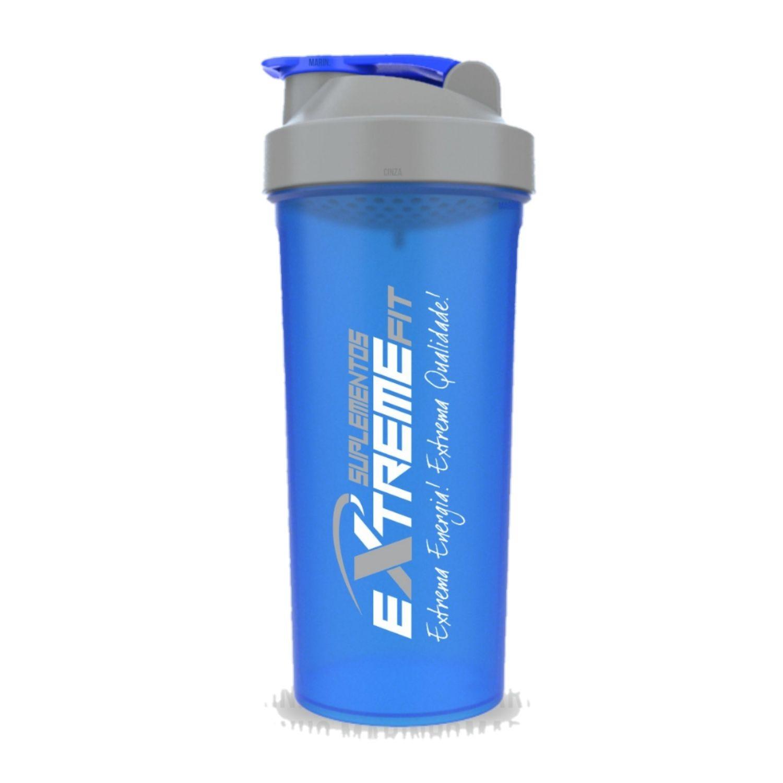 Coqueteleira Slim 600ml BPA Free ExtremeFit Azul Marinho e Cinza