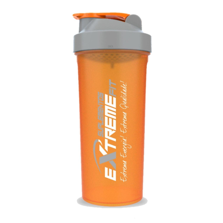 Coqueteleira Slim 600ml BPA Free ExtremeFit Laranja e Cinza