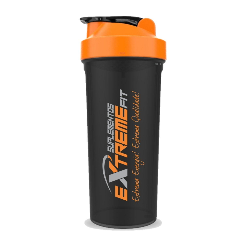 Coqueteleira Slim 600ml BPA Free ExtremeFit Preta e Laranja