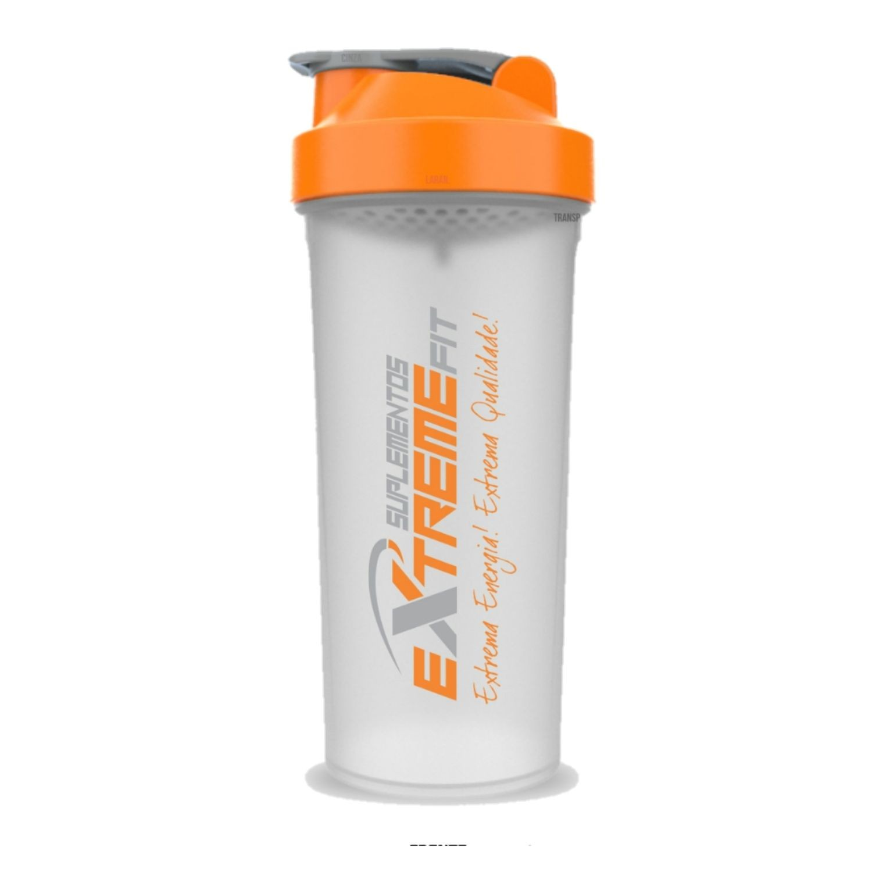 Coqueteleira Slim 600ml BPA Free ExtremeFit Transparente e Laranja