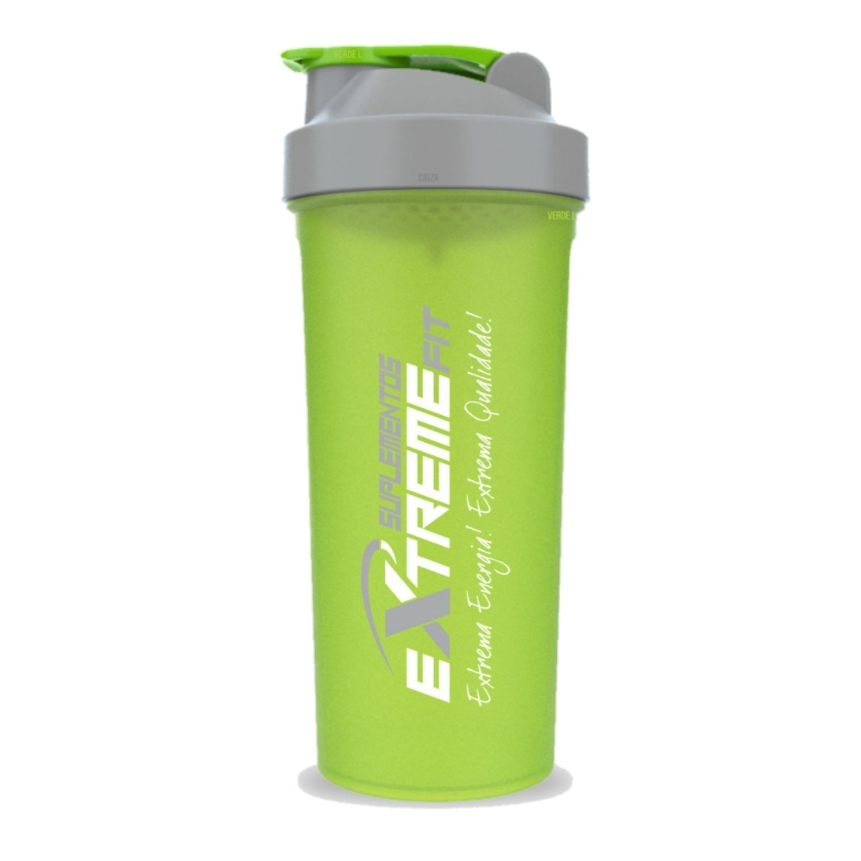 Coqueteleira Slim 600ml BPA Free ExtremeFit Verde e Cinza