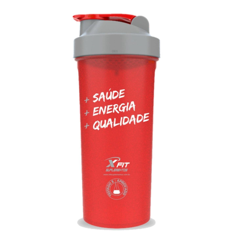 Coqueteleira Slim 600ml BPA Free ExtremeFit Vermelha e Cinza