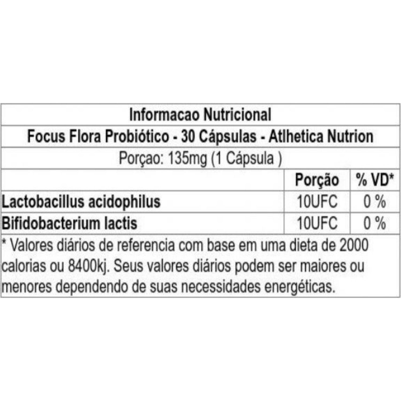 Focus Flora Probiótico CleanLab 30 Cápsulas Atlhetica Nutrition