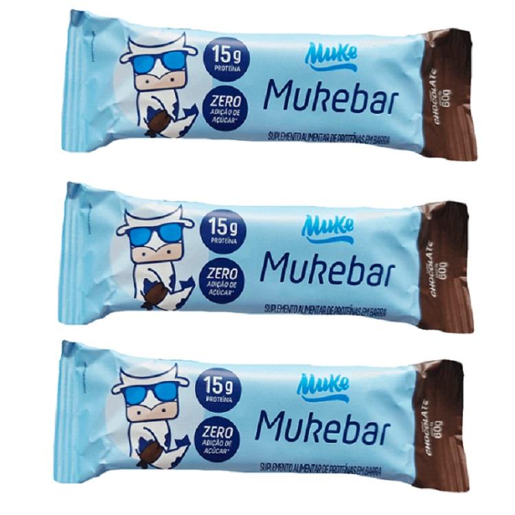 Kit com 3 Mukebar 60g +MU Sabor Chocolate