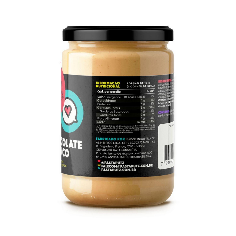 Kit com 1 Pasta de Amendoim Putz! Chocolate Branco com Whey Protein 600g + 1 Pasta de Amendoim Granulado Light 500g