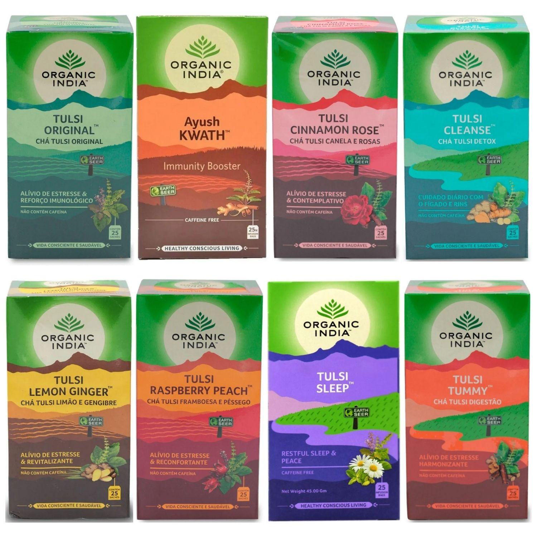 Kit com 2 Chá Tulsi Vários Sabores 25 Sachês Organic India