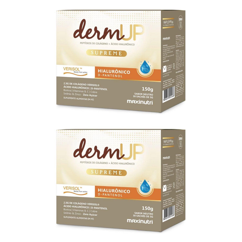 Kit com 2 Colágeno Hidrolisado DermUp Supreme Verisol e D-Pantenol 30 Sachês Maxinutri
