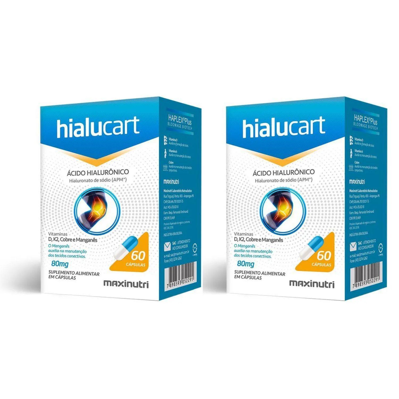 Kit com 2 Hialucart Ácido Hialuronico 60 Cápsulas Maxinutri