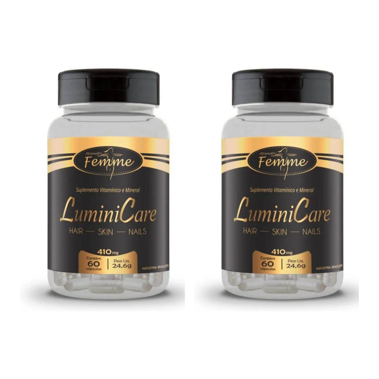 Kit com 2 LuminiCare Hair, Skin e Nails Femme Multivitamínico 410 mg 60 Cápsulas Apisnutri