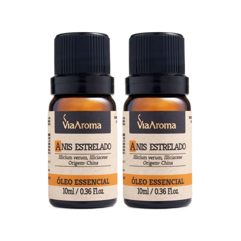 Kit com 2 Óleos Essenciais de Anis Estrelado 10ml Via Aroma 100% Natural