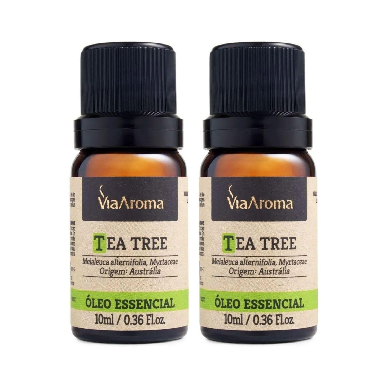 Kit com 2 Óleos Essenciais de Tea Tree Melaleuca 10ml Via Aroma 100% Natural