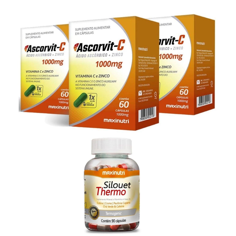 Kit com 3 Ascorvit C 1000mg 60 Cápsulas Maxinutri + 1 Silouet Thermo 90 Cápsulas Maxinutri