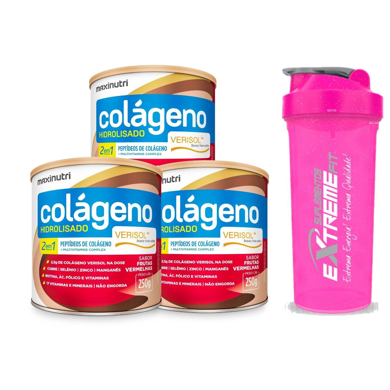 Kit com 3 Colágeno Hidrolisado 2 em 1 Verisol 250g Maxinutri Sabor Frutas Vermelhas + Coqueteleira ExtrmeFit