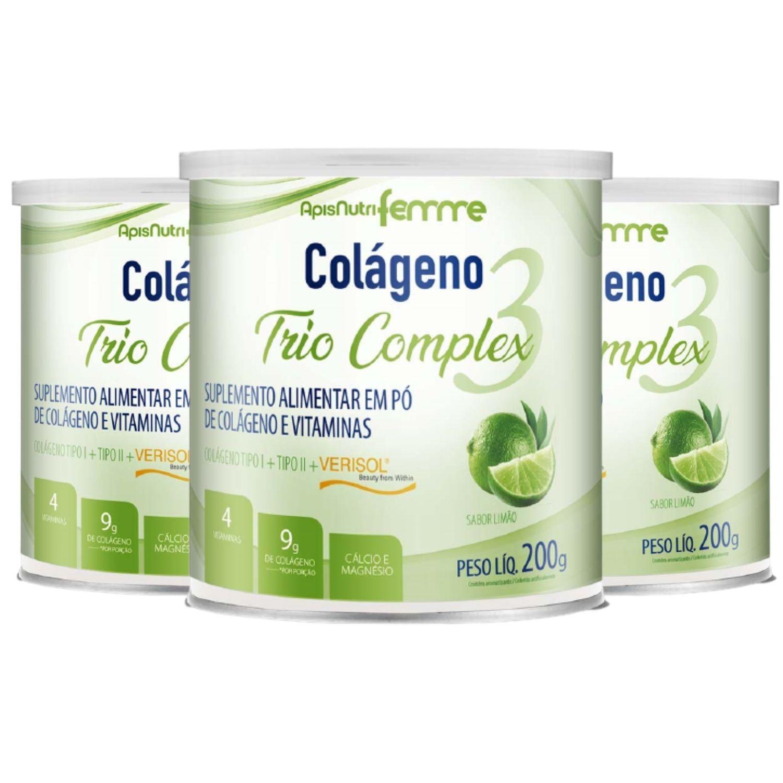 Kit com 3 Colágeno Trio Complex 200g Apisnutri Sabor Limão