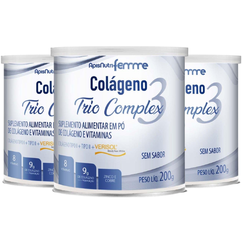 Kit com 3 Colágeno Trio Complex 200g Apisnutri Sabor Neutro