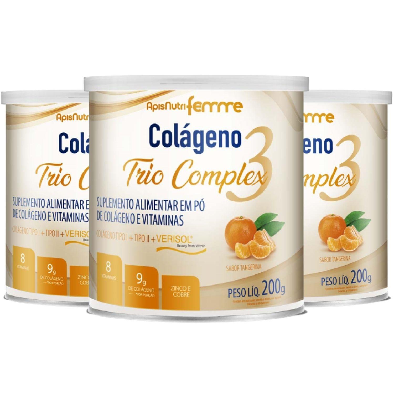 Kit com 3 Colágeno Trio Complex 200g Apisnutri Sabor Tangerina