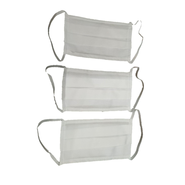 Kit com 3 Máscaras de Proteção Dupla Camada Tricoline fio 50 e Suedine Brancas Reutilizáveis