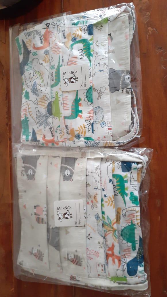 Kit com 3 Máscaras de Proteção Tricoline Estampas Lúdicas SORTIDAS Reutilizáveis