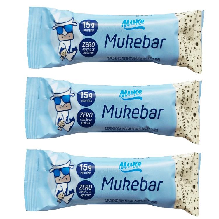 Kit com 3 Mukebar 60g +MU Sabor Cookies And Cream