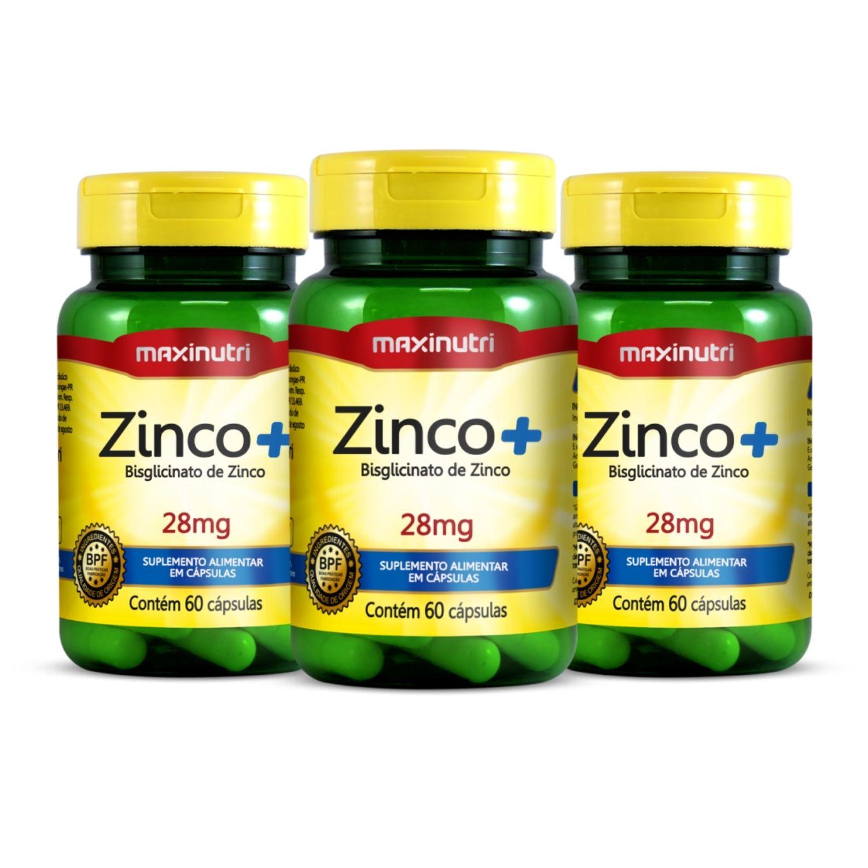 Kit com 3 Zinco+ 28mg 60 Cápsulas Maxinutri