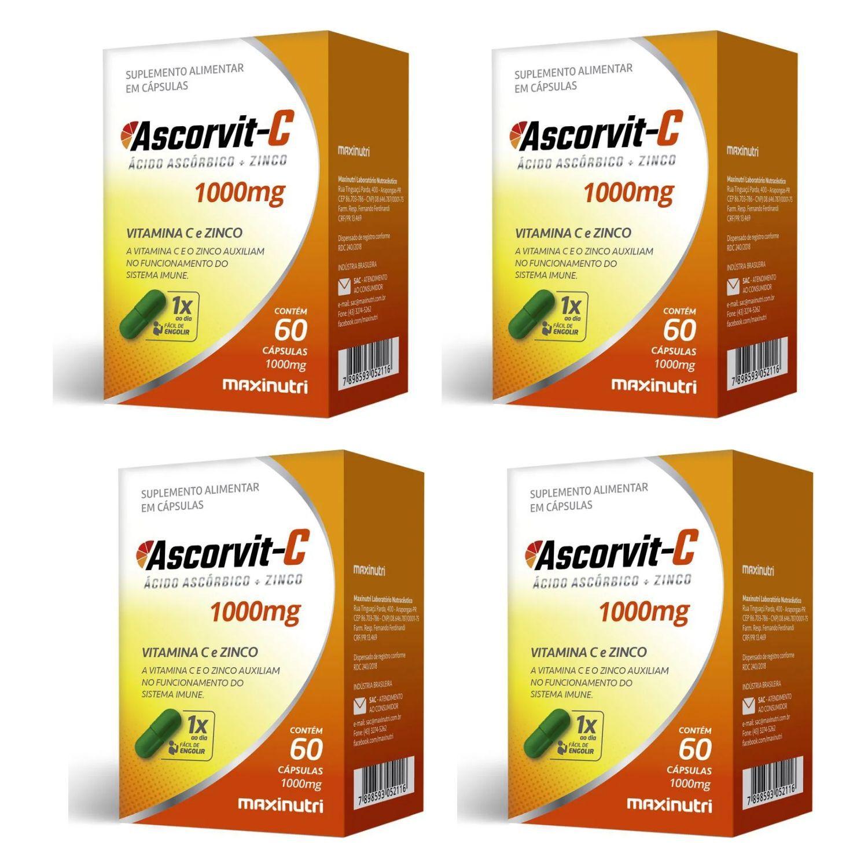 Kit com 4 Ascorvit C 1000mg 60 Cápsulas Maxinutri