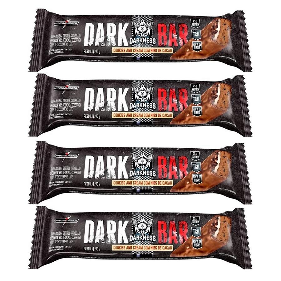 Kit com 4 Dark Whey Bar 90g Integralmedica Sabor Cookies com Cacau