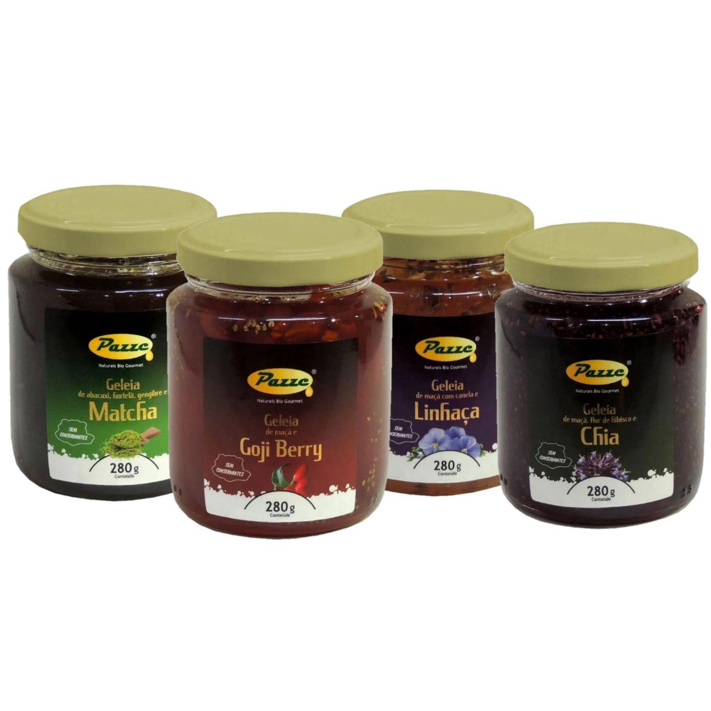Kit com 4 Geleia Funcional de Maçã e Linhaça, Flor de Hibisco e Chia, Goji Berry e Matcha Pazze 280g cada