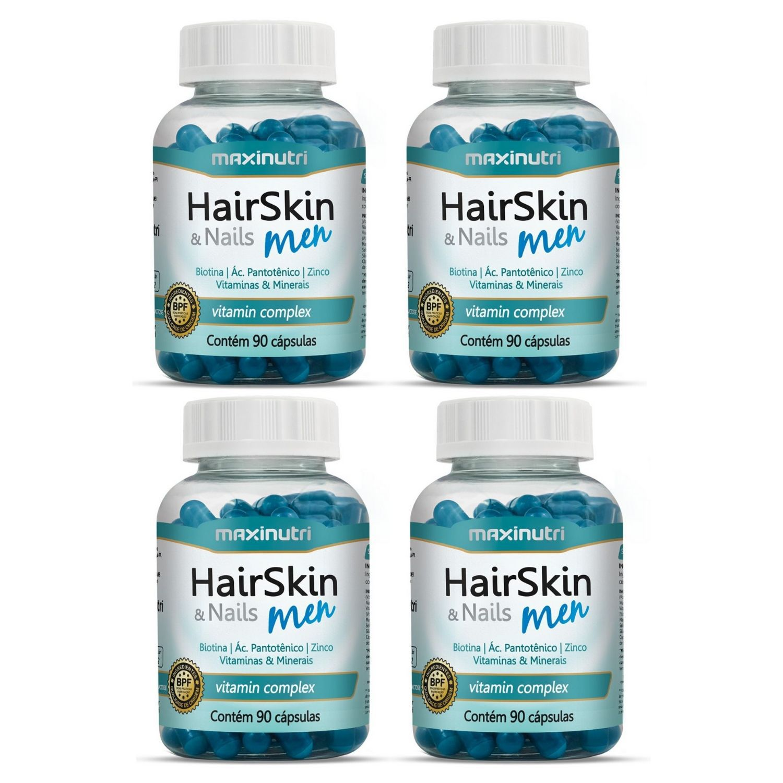Kit com 4 HairSkin & Nails Men 90 Cápsulas Maxinutri