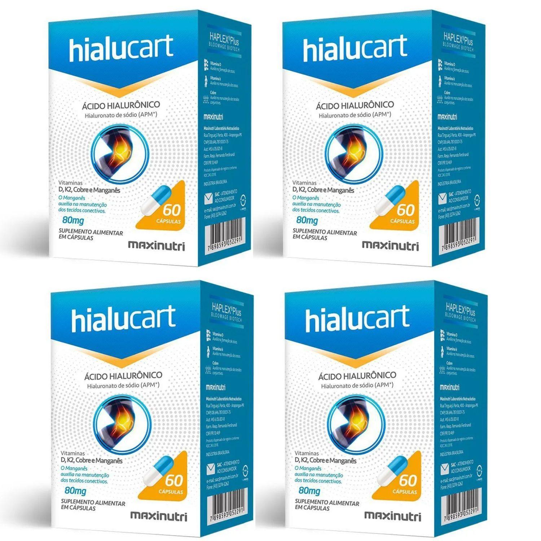 Kit com 4 Hialucart Ácido Hialuronico 60 Cápsulas Maxinutri