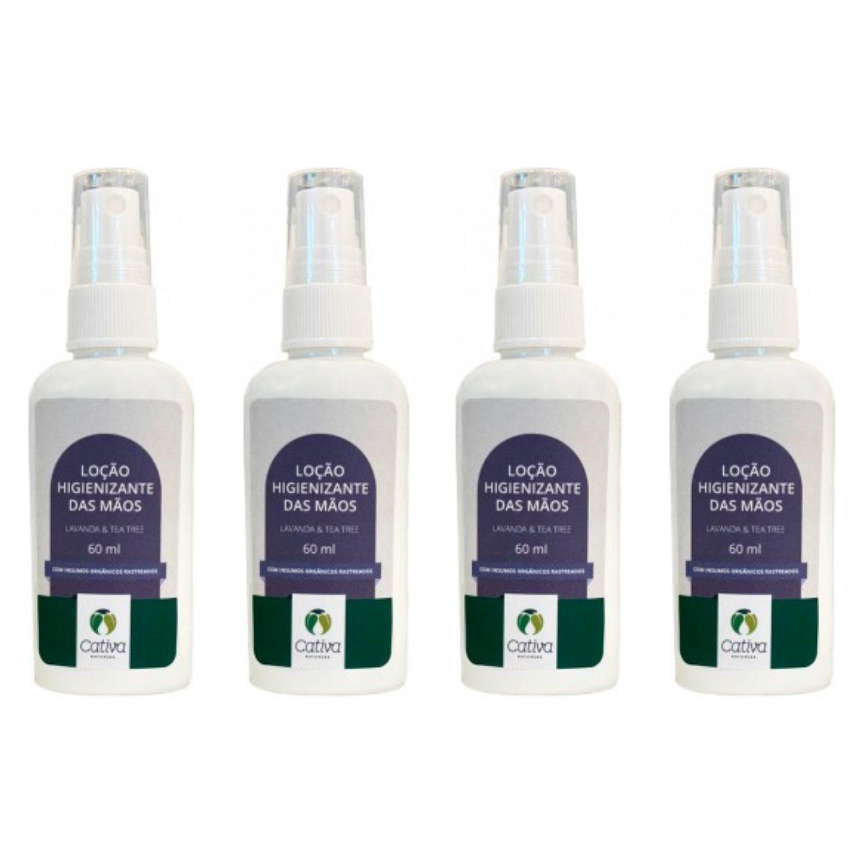 Kit com 4 Loção Higienizante Álcool 70% com Lavanda e Tea Tree para Mãos Orgânico Natural Vegano 60ml Cativa Natureza