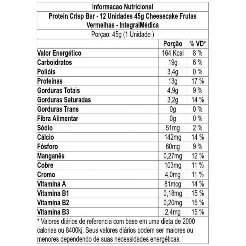 Kit com 4 Protein Crisp 45g Integralmedica Sabor Cheesecake de Frutas Vermelhas