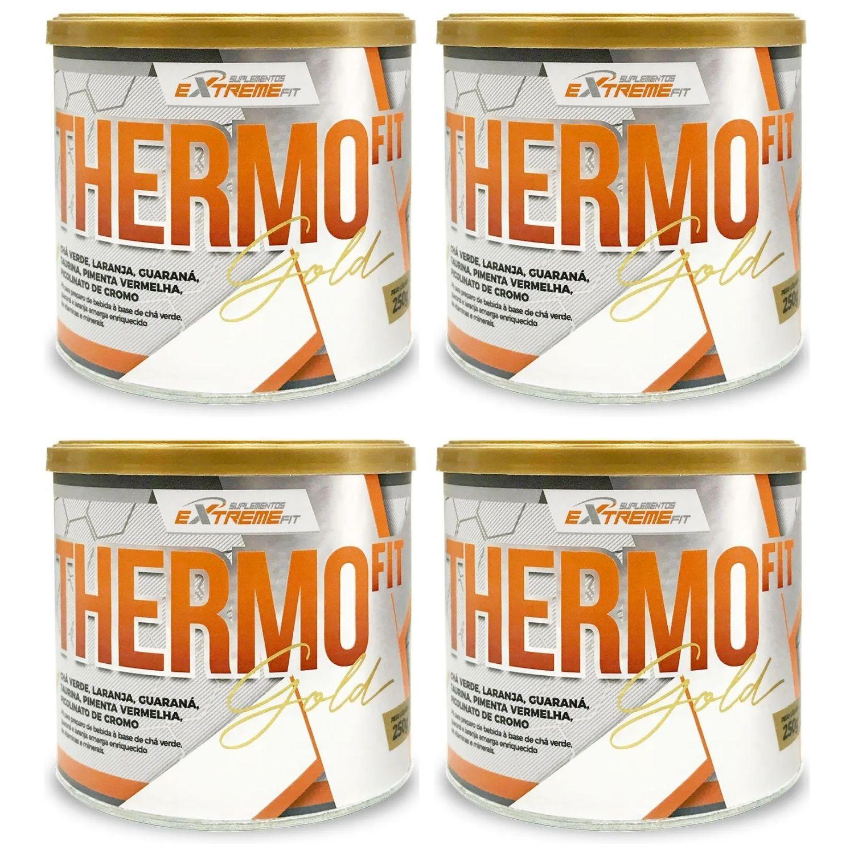 Kit com 4 THERMO Fit 100% Natural Termo e Diurético 250g ExtremeFit Sabor Frutas Cítricas